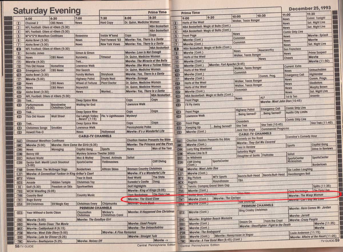 mtv schedules from the 1990's